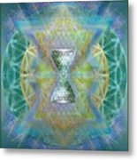 Silver Torquoise Chalicell Ring Flower Of Life Matrix II Metal Print