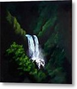 Silver Waterfall Metal Print