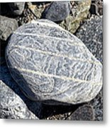 Beautifully Patterned Rock On The Beach In Alaska Metal Print