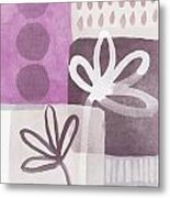Simple Flowers- Contemporary Painting Metal Print by Linda Woods