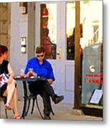 Simplement Dliche Cupcakes Et Ice Tea Bistro Rue St Denis Plateau Montreal Cafe Scene Carole Spandau Metal Print