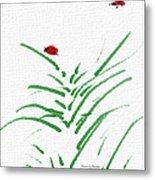 Simply Ladybugs And Grass Metal Print