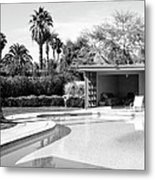Sinatra Pool And Cabana Bw Palm Springs Metal Print