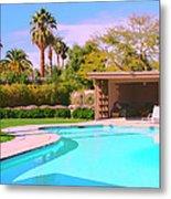 Sinatra Pool Cabana Palm Springs Metal Print
