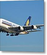 Singapore Airbus A380-841 9v-skn Los Angeles International Airport January 19 2015 Metal Print