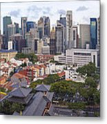 Singapore Central Business District Over Chinatown Area Metal Print