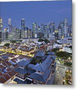 Singapore Central Business District Over Chinatown Blue Hour Metal Print