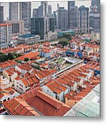 Singapore Chinatown With Modern Skyline Metal Print