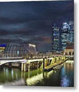 Singapore City By The Fullerton Pavilion At Night Metal Print