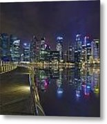 Singapore City Skyline Along Marina Bay Boardwalk At Night Metal Print