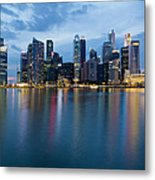 Singapore City Skyline At Blue Hour Metal Print