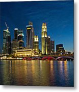 Singapore River Waterfront Skyline At Blue Hour Metal Print
