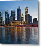Singapore River Waterfront Skyline At Sunset Metal Print