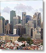 Singapore Skyline Along Chinatown Area Metal Print