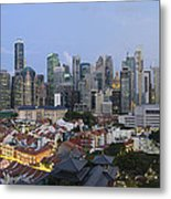 Singapore Skyline Along Chinatown Evening Metal Print