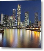 Singapore Skyline By Boat Quay Vertical Metal Print