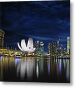 Singapore Skyline By River Waterfront At Dusk Metal Print