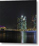 Singapore Skyline With Laser Light Show Metal Print