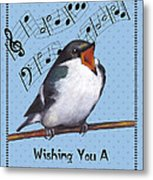 Singing Bird Birthday Card Metal Print