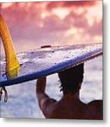 Single Fin Surfer Metal Print