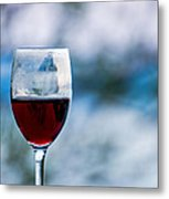 Single Glass Of Red Wine On Blue And White Background Metal Print