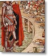 Sir Galahad Is Brought To The Court Of King Arthur Metal Print
