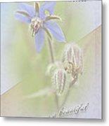 Sister Birthday Greeting Card - Borage - Borage Officinalis Metal Print