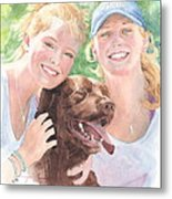 Sisters And Chocolate Lab In Sun Watercolor Portrait Metal Print