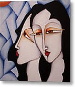 Sisters Under A Paper Sky Metal Print by Simona  Mereu