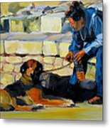 Sitting With A Dog Metal Print