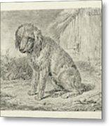 Sitting Dog In A Barn, Johannes Mock Metal Print