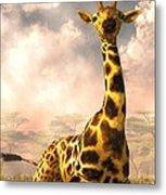Sitting Giraffe Metal Print