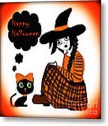Sitting Halloween Witch Metal Print