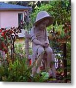 Sitting In The Garden Metal Print by Judy  Waller