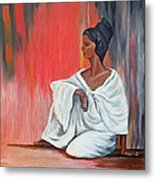 Sitting Lady In White Next To A Red Wall Metal Print