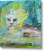 Sitting Lion Oil Portrait Metal Print