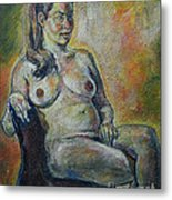 Sitting Nude Metal Print
