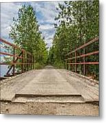 Sitting On Bridge By The Lake Metal Print by Jason Brow