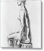 Sitting Woman Study Metal Print