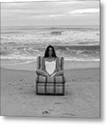 Sittinng On The Beach Metal Print by Thomas Leon