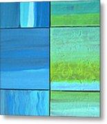 Six Blue Tiles Metal Print