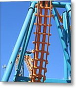 Six Flags America - Two-face Roller Coaster - 12122 Metal Print
