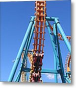 Six Flags America - Two-face Roller Coaster - 12124 Metal Print