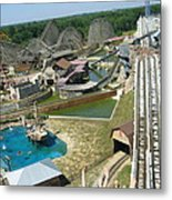 Six Flags America - Wild One Roller Coaster - 12124 Metal Print