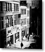 Six O'clock On The Street - Black And White Metal Print