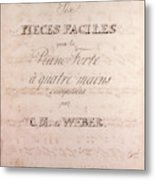 Six Pieces Faciles Pour Le Piano Forte A Quatre Main Metal Print