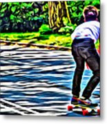 Skateboarder In Central Park Metal Print
