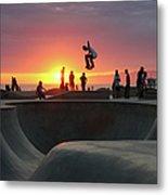 Skateboarding At Venice Beach Metal Print