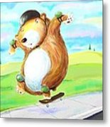Skateboarding Bear Metal Print by Scott Nelson