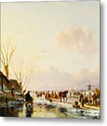 Skaters By A Booth On A Frozen River Metal Print